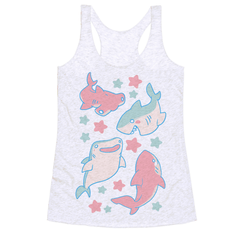 Happy Shark Pattern Racerback Tank Top