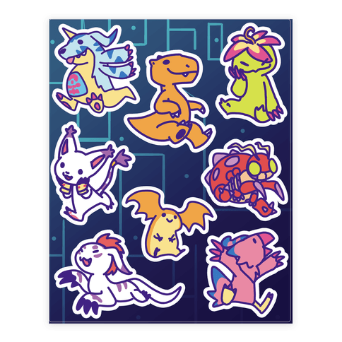 Digital Monsters Pattern Sticker and Decal Sheet