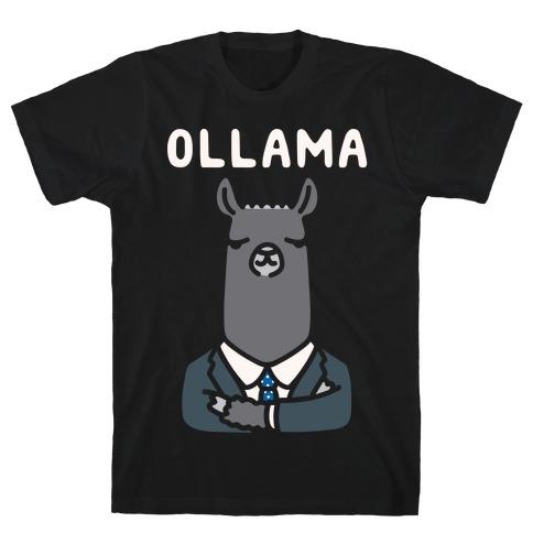 Ollama Parody White Print  Mens T-Shirt