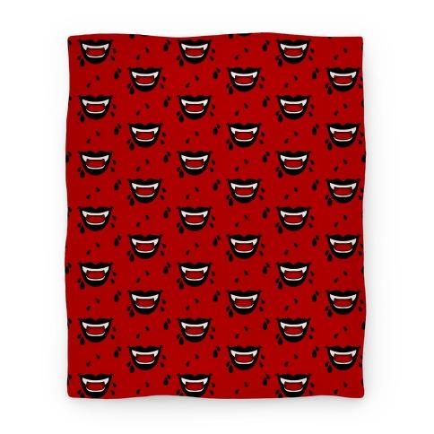 Black Vampire Lips Pattern Blanket