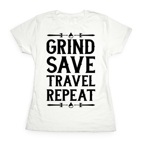 Grind, Save, Travel, Repeat Womens T-Shirt