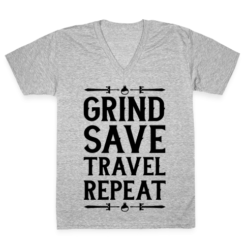 Grind, Save, Travel, Repeat V-Neck Tee Shirt