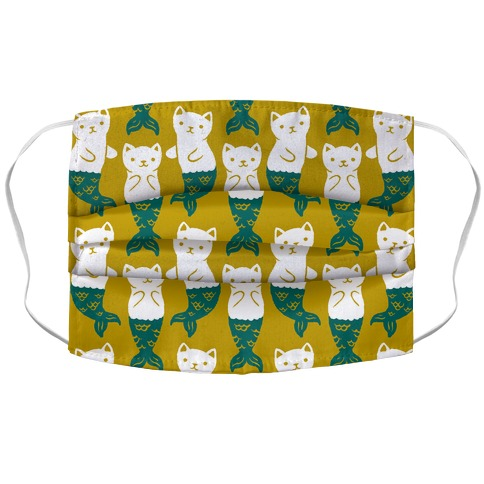 Cat Mermaid Pattern Yellow Accordion Face Mask