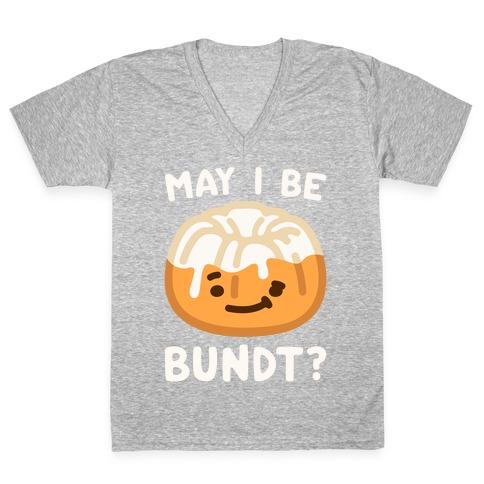 May I Be Bundt White Print V-Neck Tee Shirt