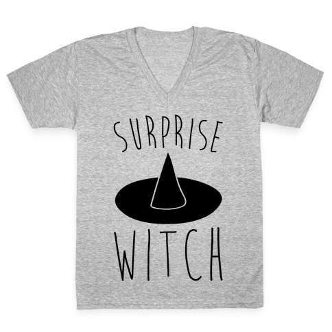 Surprise Witch Parody V-Neck Tee Shirt