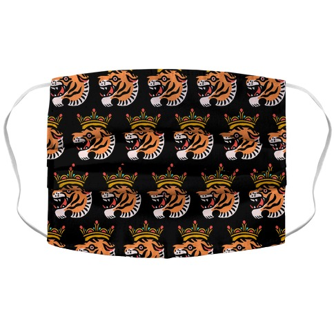 Tiger with a Crown Accordion Face Mask