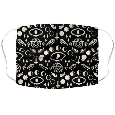 Occult Pixel Pattern On Black Accordion Face Mask