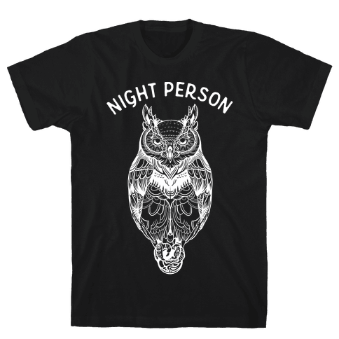 Night Person Owl Mens T-Shirt