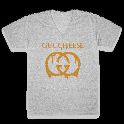 Guccheese Cheesy Gucci Parody V-Neck Tee Shirt