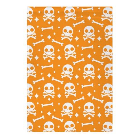 Cute Skull N' Bones Pattern (Orange) Garden Flag