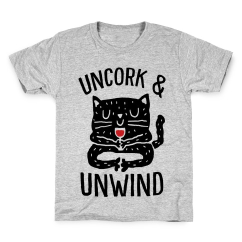 Uncork And Unwind Yoga Cat Kids T-Shirt