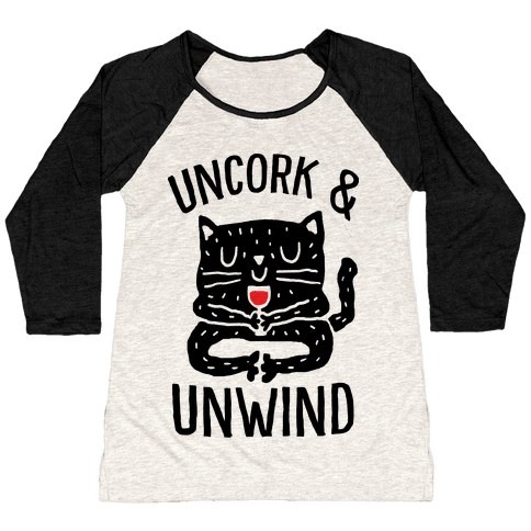 Uncork And Unwind Yoga Cat Baseball Tee