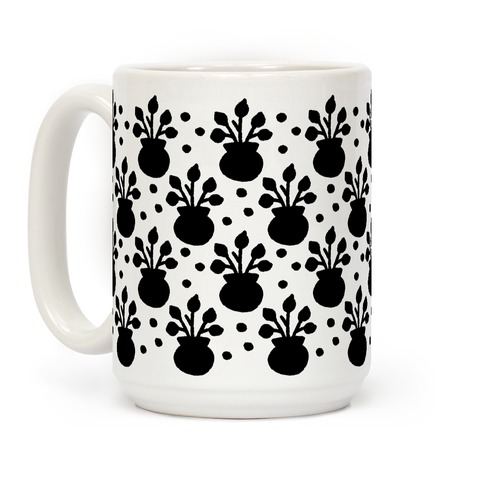 Potted Plant Boho Pattern Black and White Coffee Mug