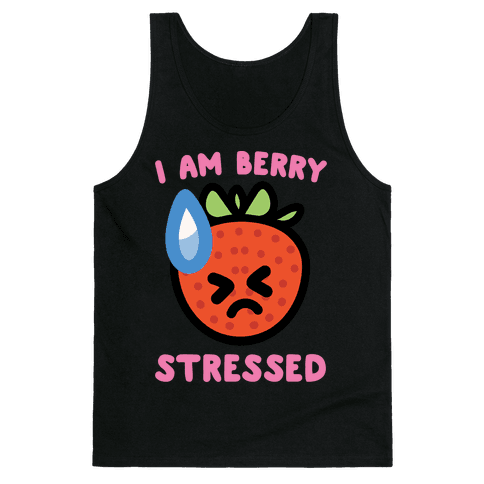 I'm Berry Stressed White Print Tank Top