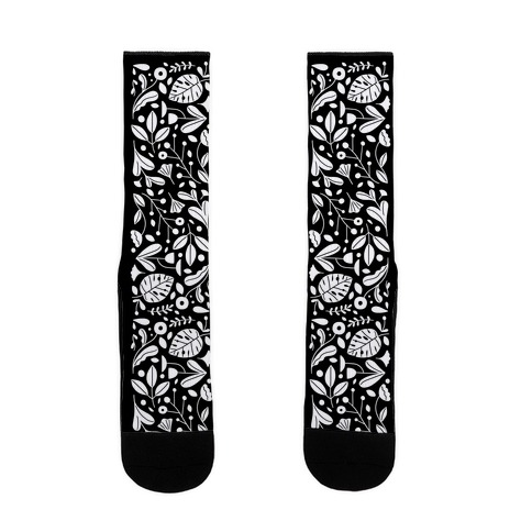 Black and White Plant Pattern Sock