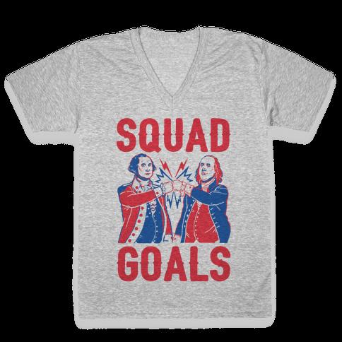 Squad Goals George Washington & Benjamin Franklin (cmyk) V-Neck Tee Shirt