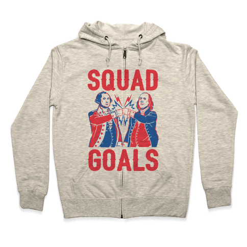Squad Goals George Washington & Benjamin Franklin (cmyk) Zip Hoodie