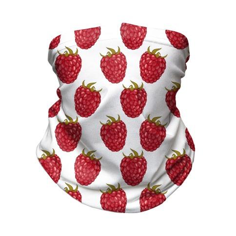 Raspberry Pattern White Neck Gaiter