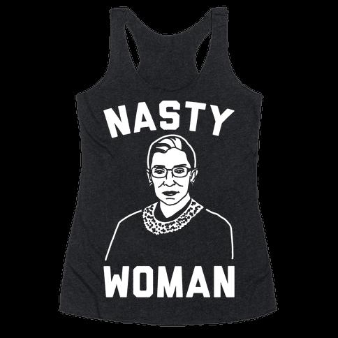 Nasty Woman RBG White Print Racerback Tank Top