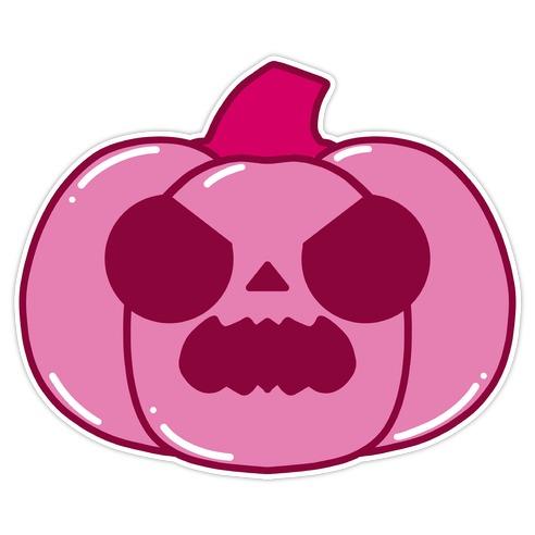 Kawaii Angry Pumpkin Pink Die Cut Sticker