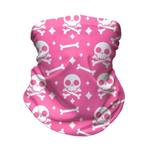 Cute Skull N' Bones Pattern (Pink) Neck Gaiter