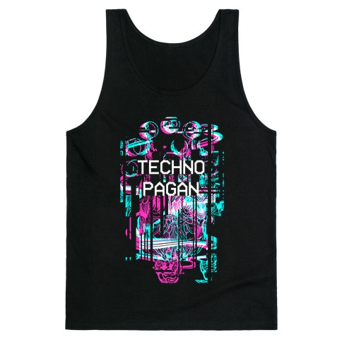 Techno Pagan Glitch Art Tank Top