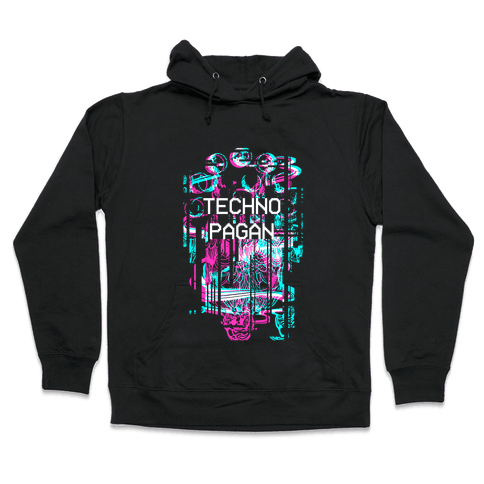 Techno Pagan Glitch Art Hooded Sweatshirt