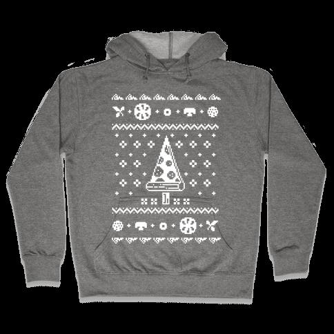 Ugly Pizza Christmas Sweater Hooded Sweatshirt
