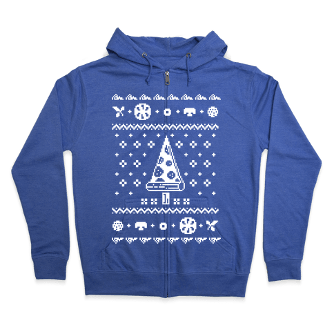 Ugly Pizza Christmas Sweater Zip Hoodie