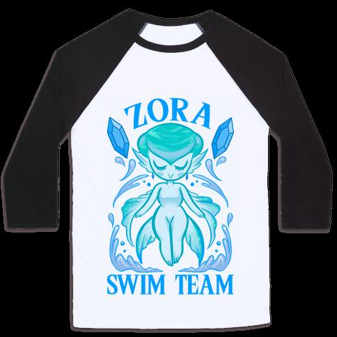Zora Swim Team Parody Baseball Tee