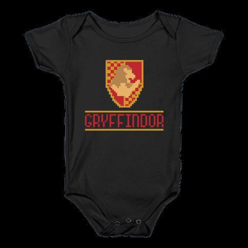 8 Bit Gryffindor  Baby Onesy