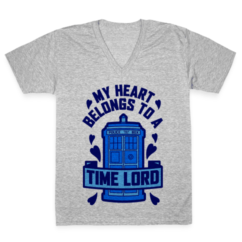 My Heart Belongs To A Time Lord V-Neck Tee Shirt