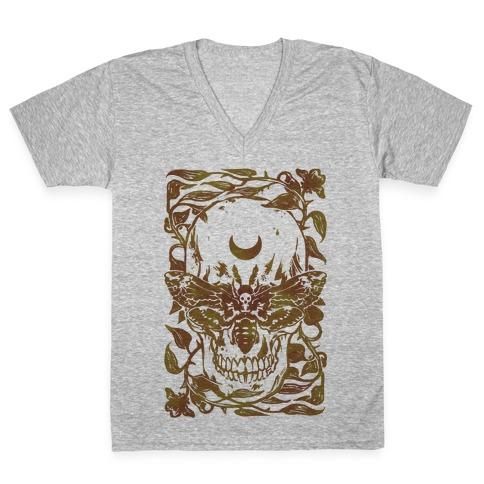 Skull Moth V-Neck Tee Shirt