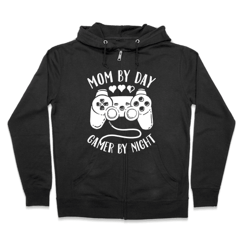 Mom By Day Gamer By Night Zip Hoodie