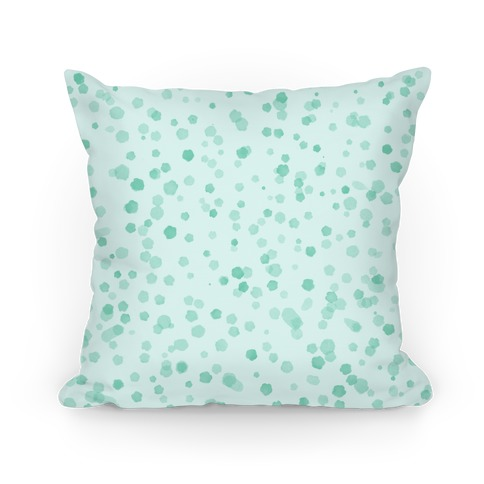 Teal Polka Dot Watercolor Pattern Pillow