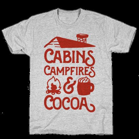 Cabins, Campfires & Cocoa  Mens T-Shirt