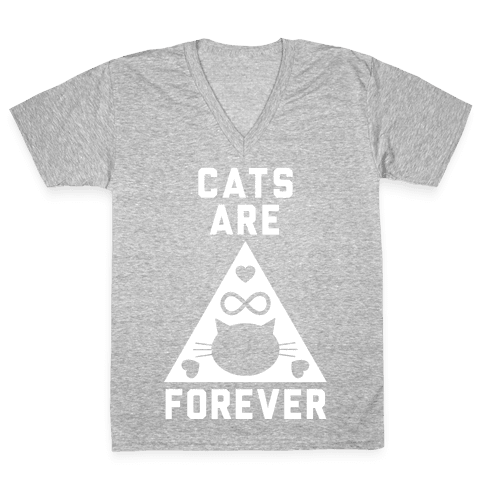 Cats Are Forever V-Neck Tee Shirt