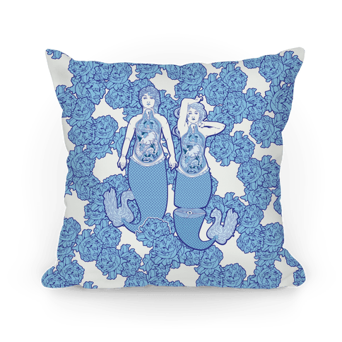 Mermaid Autopsy Pattern Pillow