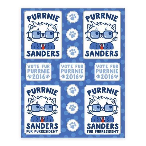 Purrnie Sanders Fur Purresident  Sticker/Decal Sheet