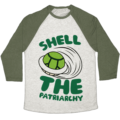 Green Shell The Patriarchy Baseball Tee