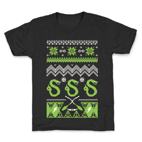 Hogwarts Ugly Christmas Sweater: Slytherin Kids T-Shirt