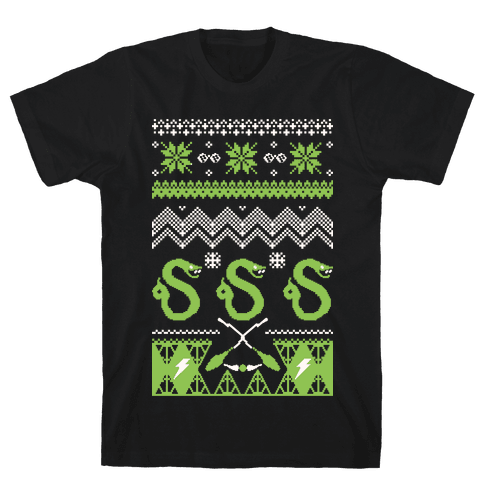 Hogwarts Ugly Christmas Sweater: Slytherin Mens T-Shirt