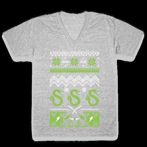 Hogwarts Ugly Christmas Sweater: Slytherin V-Neck Tee Shirt
