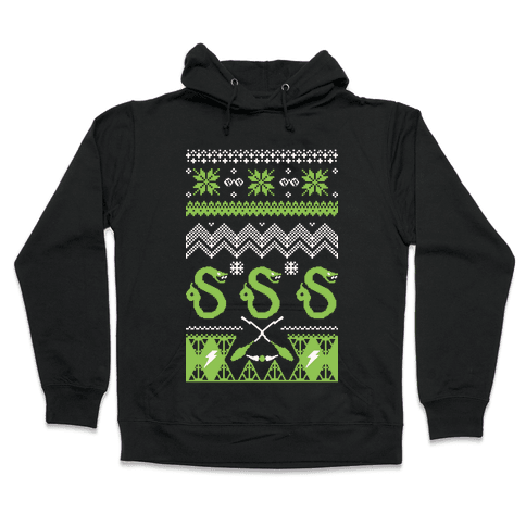 Hogwarts Ugly Christmas Sweater: Slytherin Hooded Sweatshirt