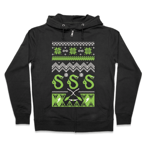 Hogwarts Ugly Christmas Sweater: Slytherin Zip Hoodie