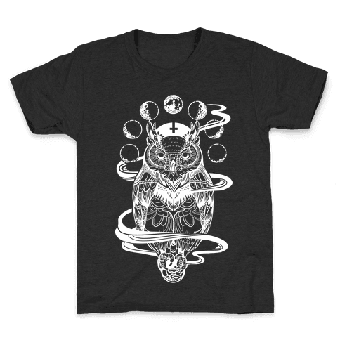 Witch's Owl Under the Phases of the Moon Kids T-Shirt