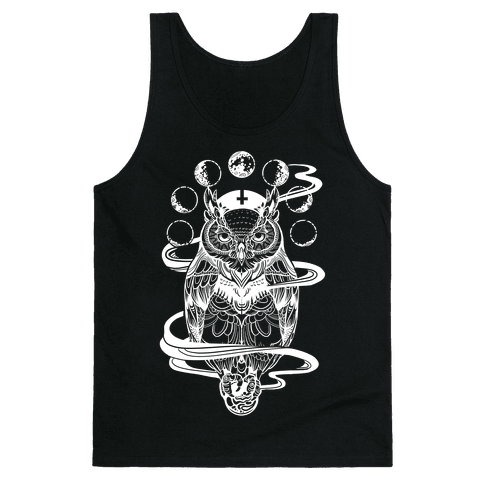 Witch's Owl Under the Phases of the Moon Tank Top