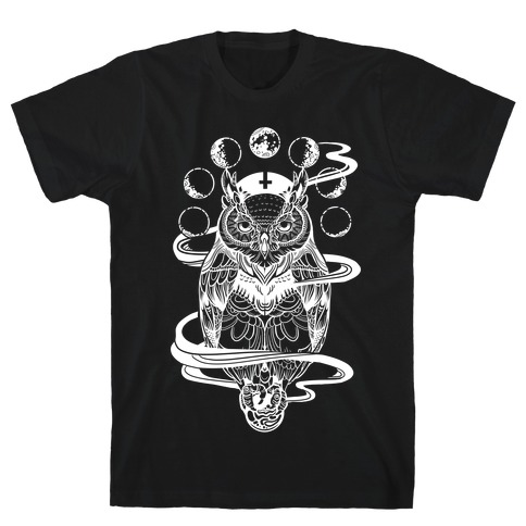 Witch's Owl Under the Phases of the Moon T-Shirt