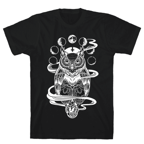 Witch's Owl Under the Phases of the Moon Mens T-Shirt