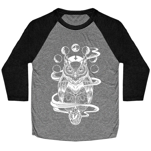 Witch's Owl Under the Phases of the Moon Baseball Tee